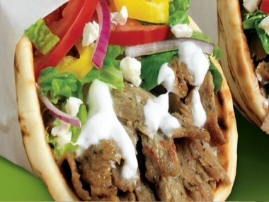 Combined roasted Lamb and Beef served with lettuce, tomato and onions on fresh baked pita bread with tzatziki