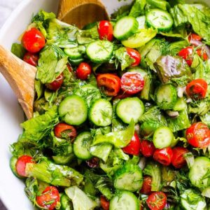 With tomato and pomegranate dressing