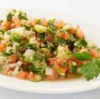Cracked wheat with cucumber, tomato, parsley, and lemon juice
